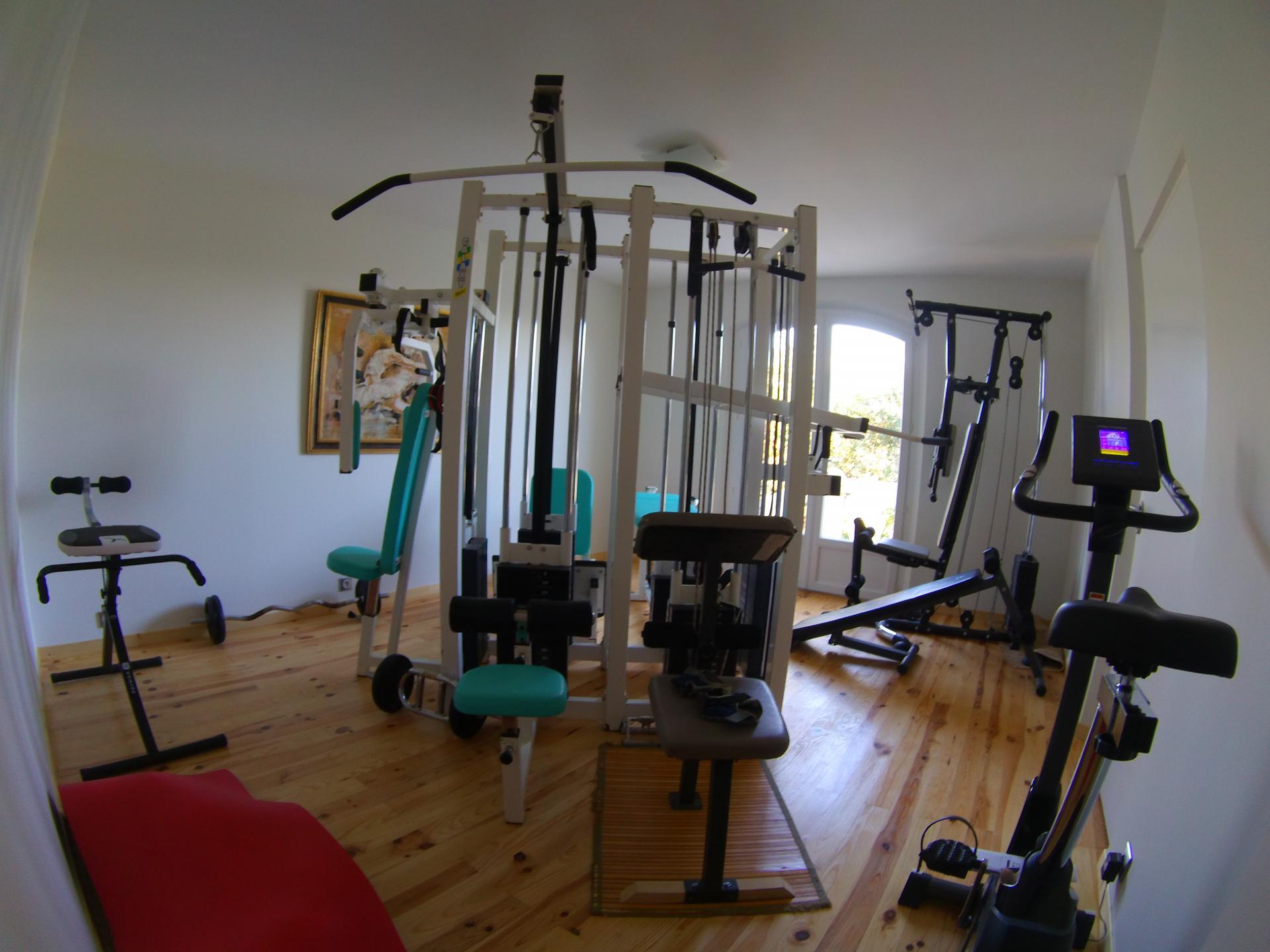 salle de sport: appareil 6 faces, vélo training, tapis